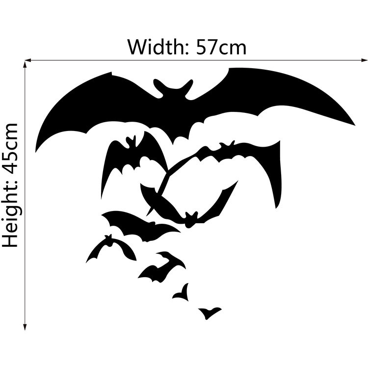 Halloween home party room shop decorations bats window glass Wall Stickers pvc waterproof removable wall murals