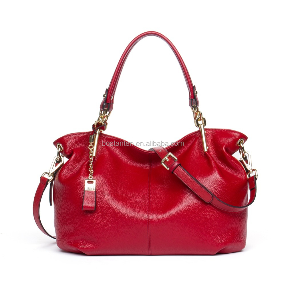 Alibaba Online Shopping Red Leather Handbag Hand Bag Women