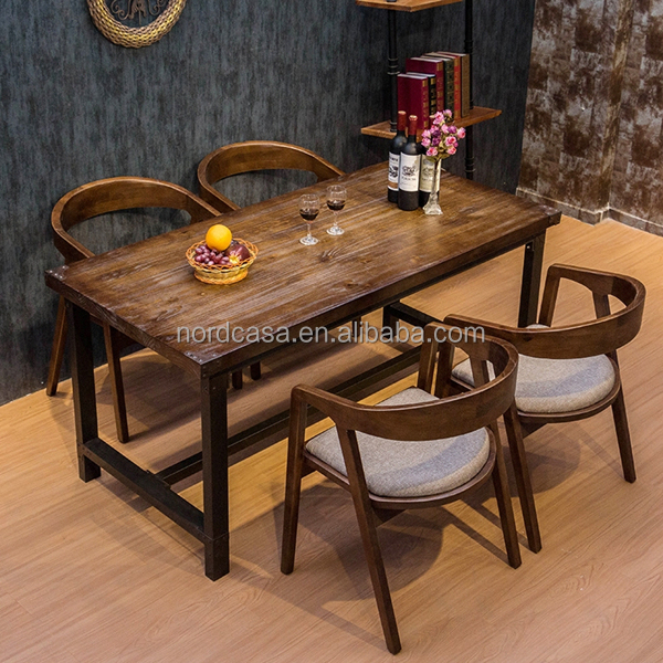 vintage industrielle fer table manger en bois pour salle manger meubles 4 personnes. Black Bedroom Furniture Sets. Home Design Ideas