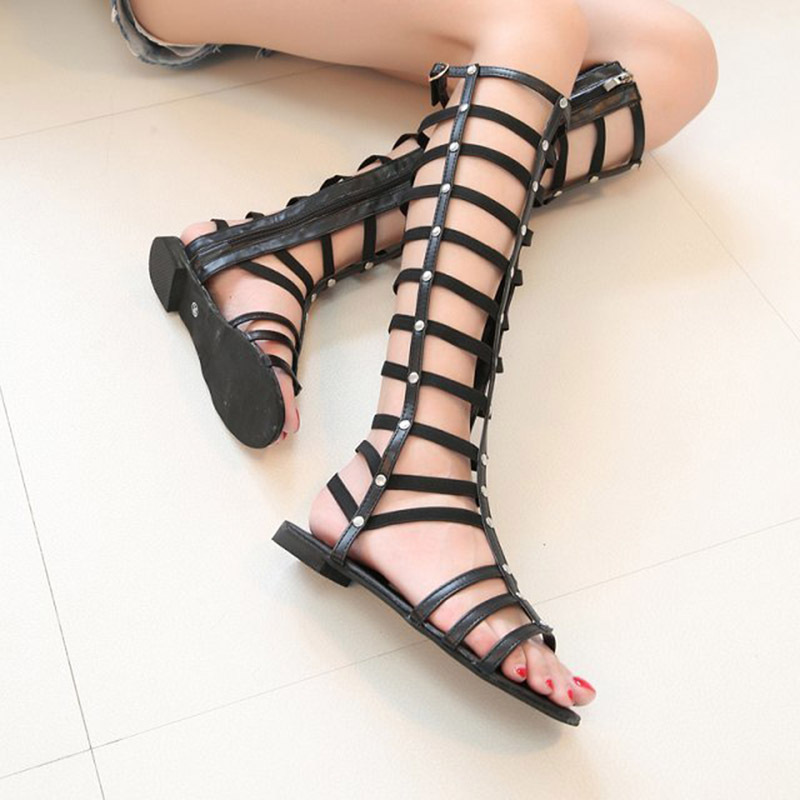 Women sandals 2015 New Roman Summer Style Flat Flip Women flat sandals Shoes 35 39 Femininos Women knee high gladiator sandals