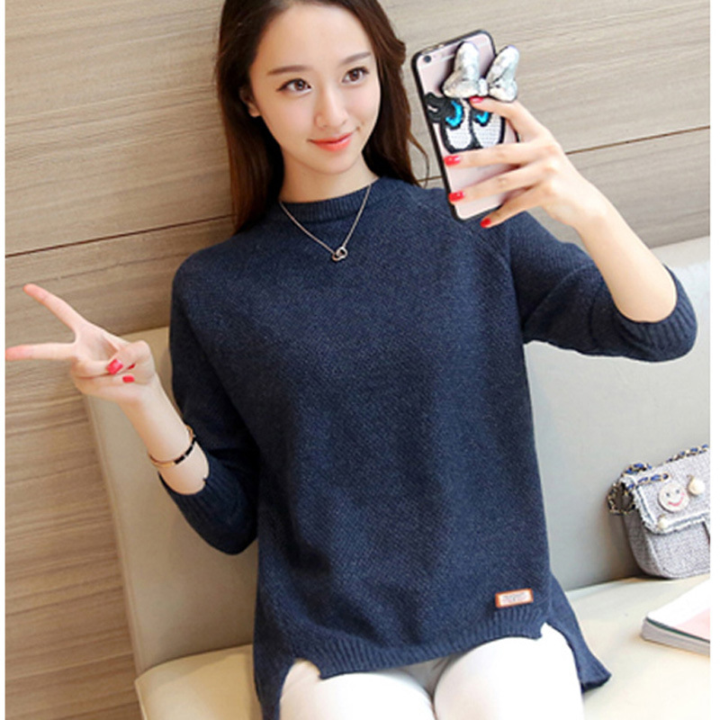 readymade vogue girl Long sleeve round neck plain sweater jumper women loose plus size bottoming sweater tops