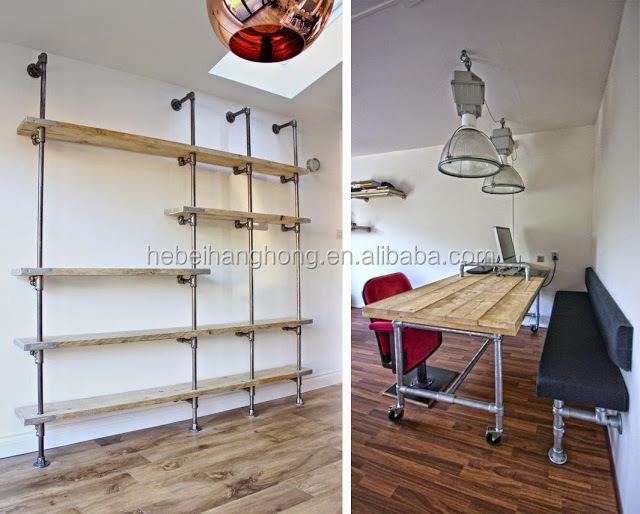 diy noir m tal tuyau et des tag res en bois avec fonte tage bride coude raccords de. Black Bedroom Furniture Sets. Home Design Ideas