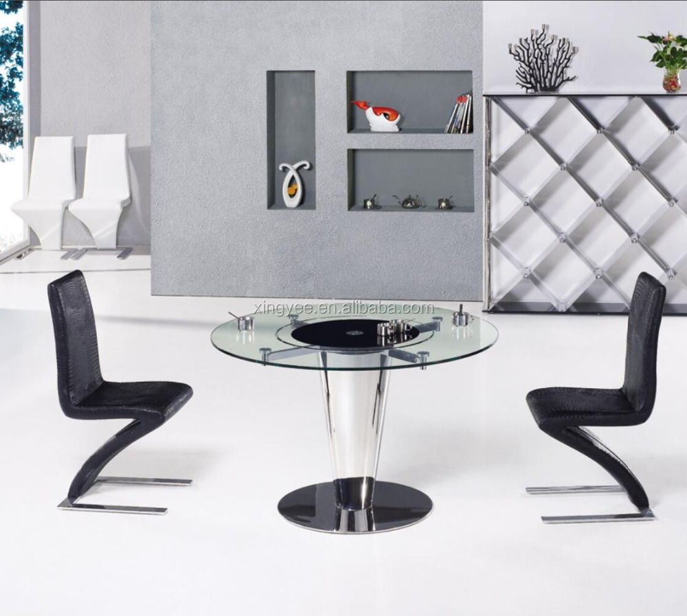 Modern Round Dining Room Table Furniture Design Rotating Centre Dining Table Tempered Glass Top Swivel Dining Table Set Buy Round Dining Table With Rotating Centre Round Rotating Top Dining Table Glass Top Center