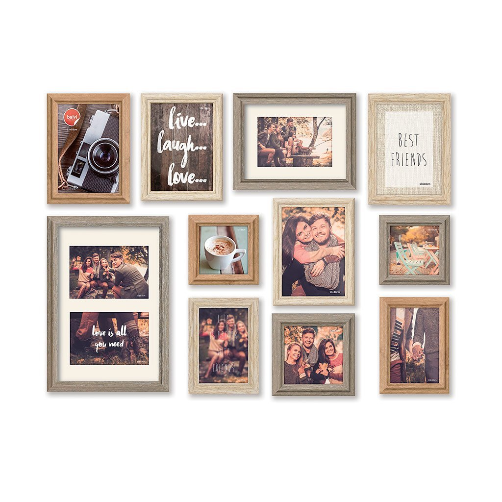 Balvi - Wall Deco set of 11 photo frames for wall decoration. Frames have glass front