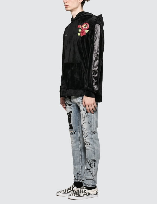 OEM men damask print super skinny denim Printed Jeans