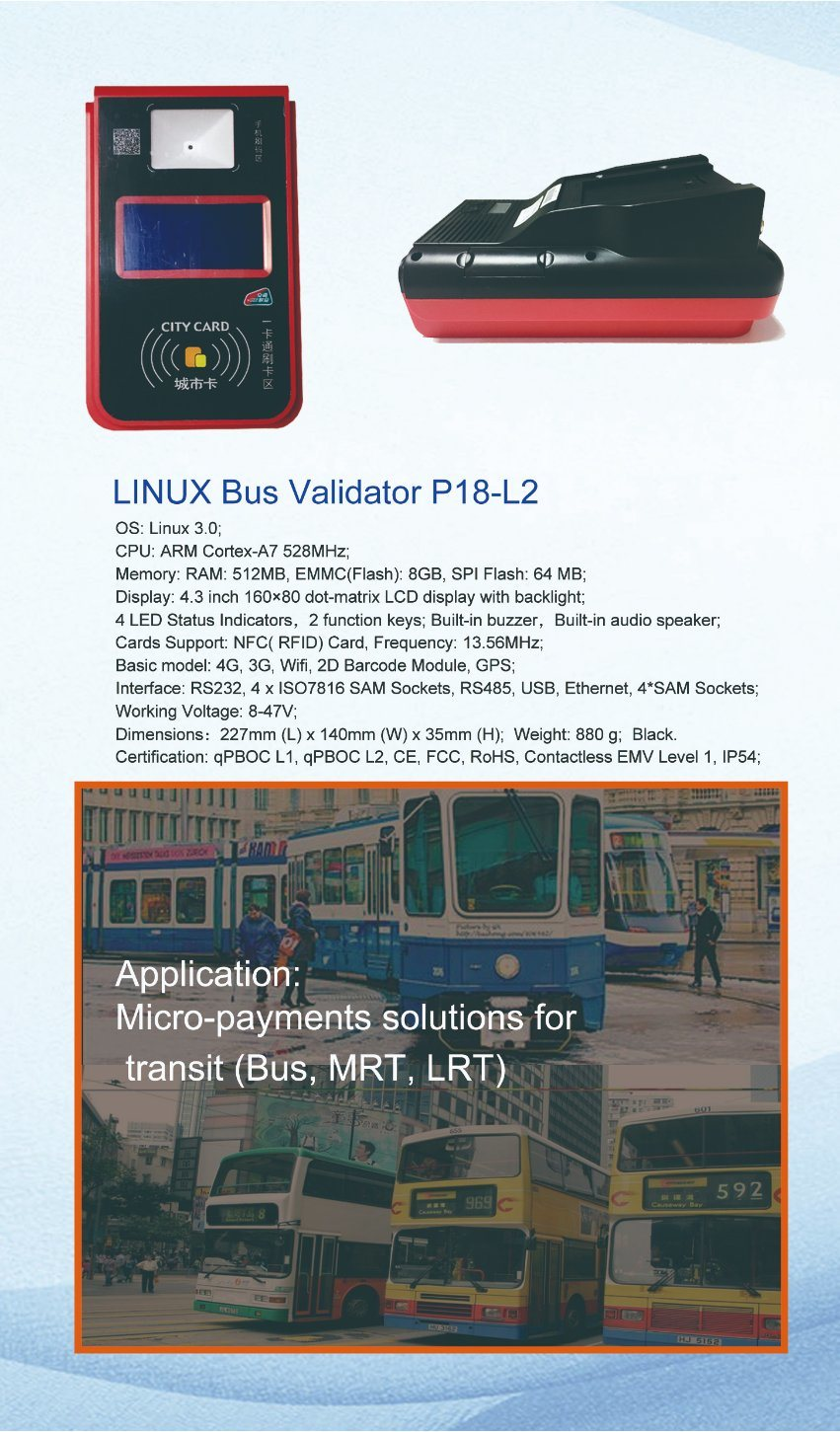 Support RFID Card Transportation GPS Ticket Card Bus Validator With 4 PSAM Slots P18-L2