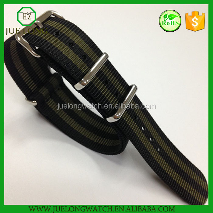 Charming Nylon straps Hot Sale Quality wrist watch band with black army green color