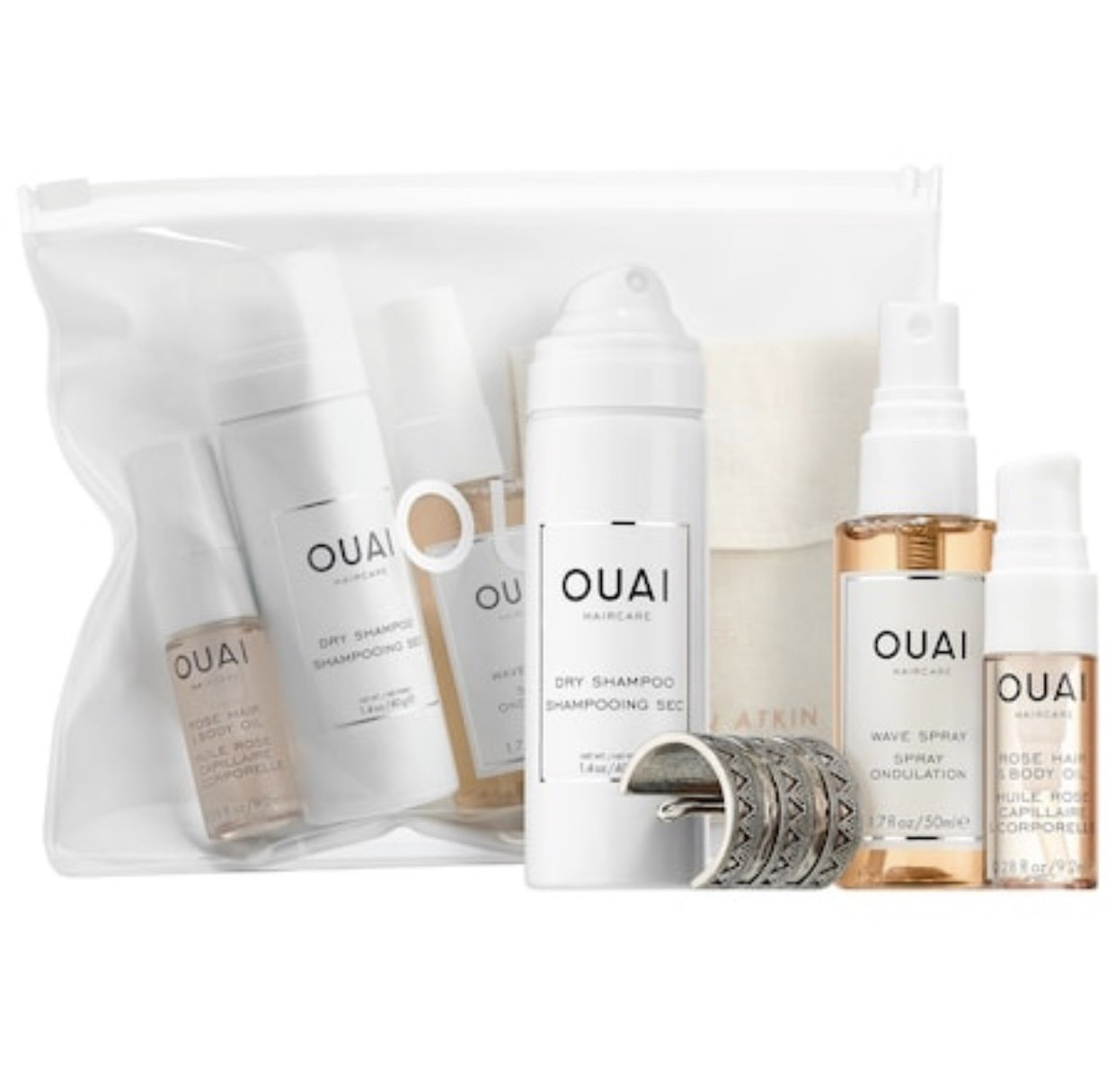 Ouai Desert OUAIsis Festival Kit: Rose Hair & Body Oil, Dry Shampoo Foam, Wave Spray, Jen Atkin x Chloe + Isabel Ponytail Piece (Limited Edition)