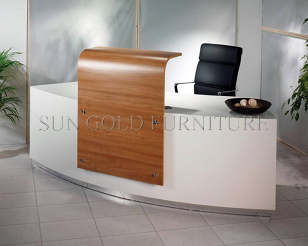 Modern factory outlets curved glass top cheap small for Bureau reception