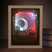 Popular wholesale wood 3d paper light shadow box photo frame