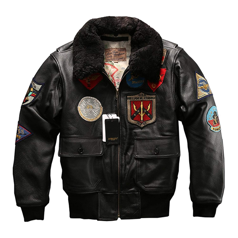 576a5e12f74 Get Quotations · Avirex fly Jacket Fur Collar Genuine Leather Jacket Men  Cowskin Coat Pilot Suit Bomber Jacket