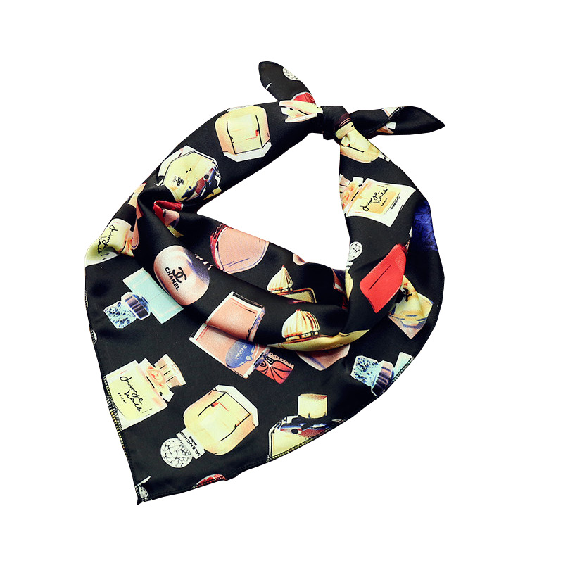Size 70*70cm Cute Lady Funny Perfume Pattern Chiffon Printed Trendy Scarf Design Square Owls Scarf