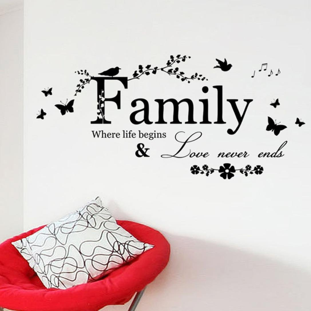 Laimeng, 2015 Family Flower Butterfly Art Vinyl Quote Wall Stickers Wall Decals Home Deco