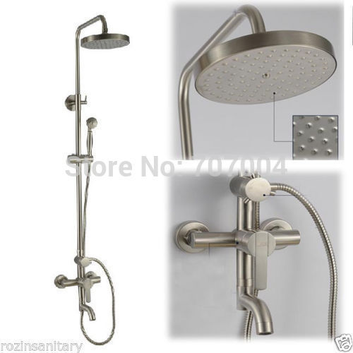 Brushed Nickel Rain Shower Head With Handheld. Get Quotations  New Brushed Nickel Rain Shower Bath Faucet Set Handheld 8 ShowerHead Cheap find