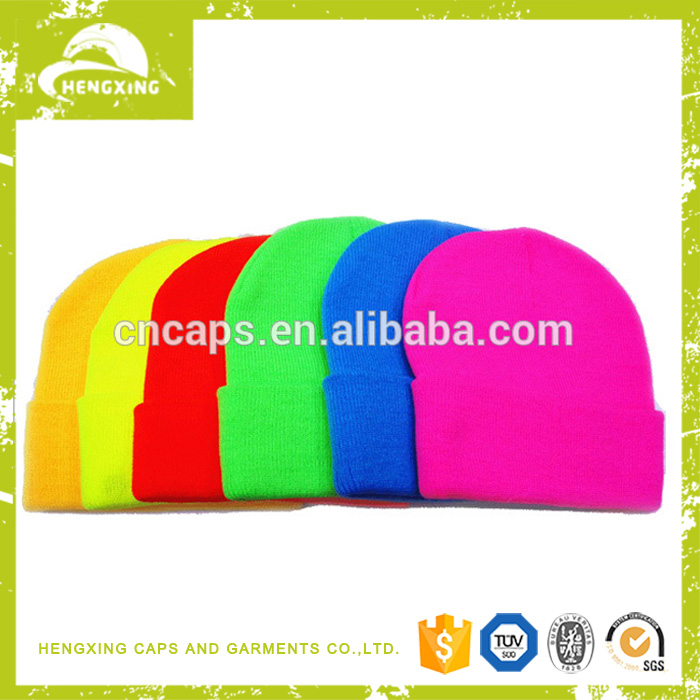 Custom personalized beanie hat unisex slouch wholesale neon winter hats
