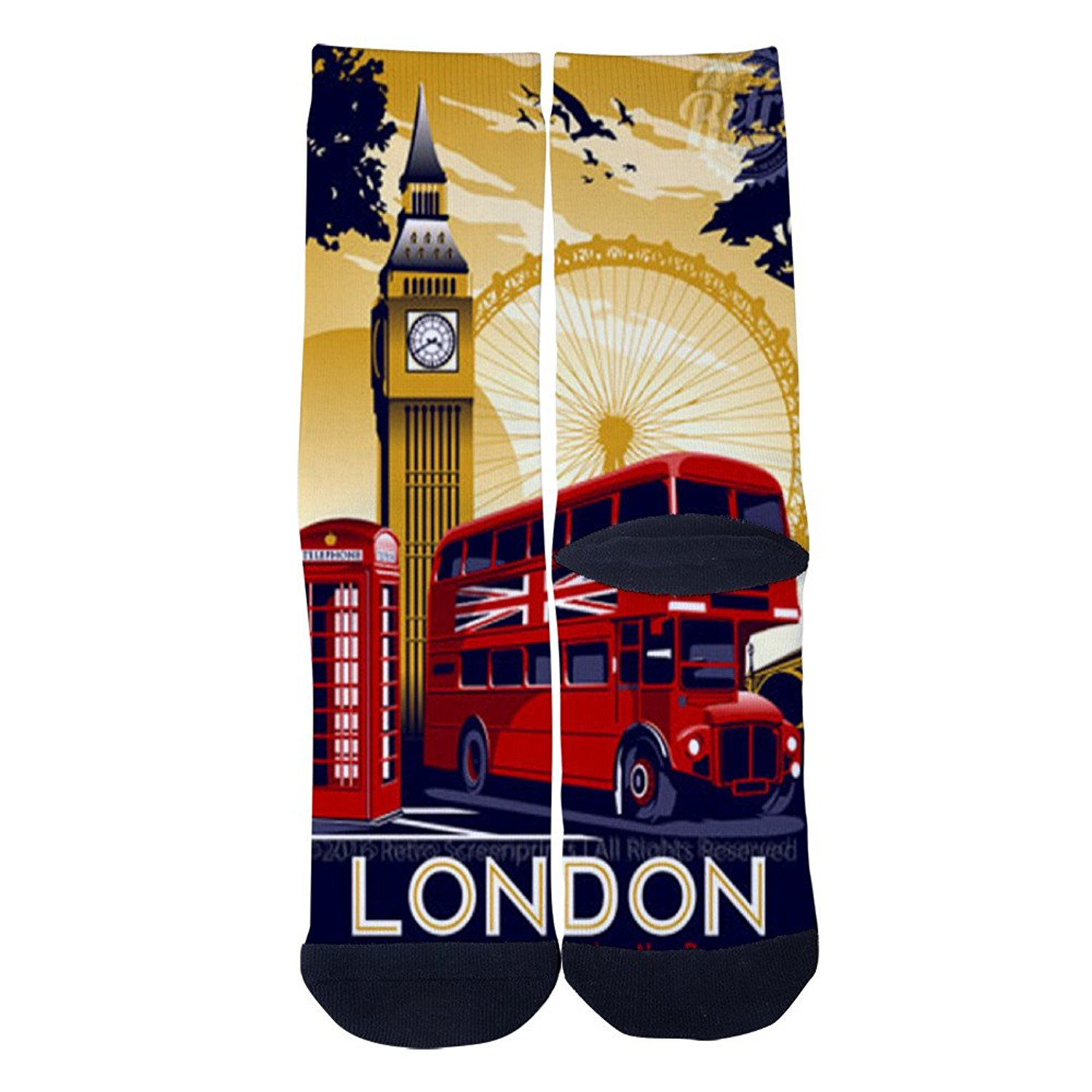 London England Custom Socks Creative Socks for Men//Women Casual Cartoon Socks