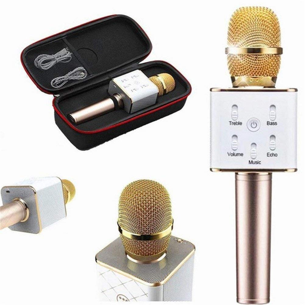 Wireless Bluetooth Karaoke Microphone by Feiuruhf,Q7 Wireless Bluetooth Handheld KTV Karaoke Microphone Mic Speaker Gold for Phone Portable Hand Speaker for iPhone
