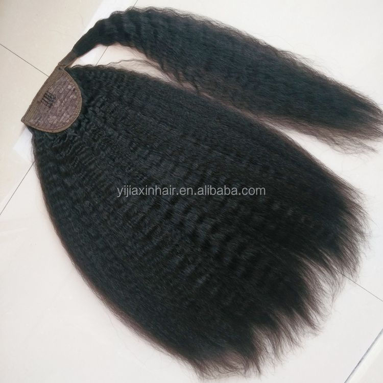 Unprocessed brazilian ponytail hair extension for black women ,cheap claw clip ponytail human hair extension