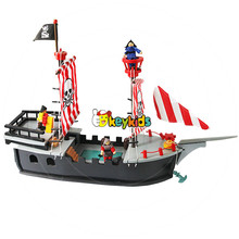 2017 wholesale kids toys wooden pirate ship funny children wooden pirate ship diy boys wooden pirate ship for sale W03B062
