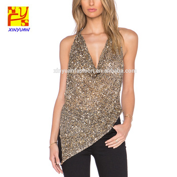 Wonderlijk Moderne Dames Sexy Fancy V-hals Gold Sequin Blouse - Buy Sequin GC-19