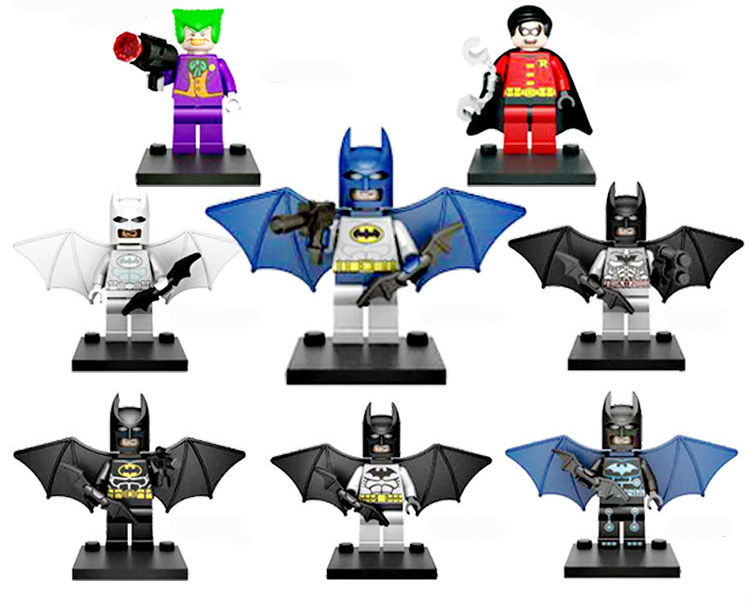 UKLego 8pcs DC Joker, Robin, Batman, Minifugure Toy.