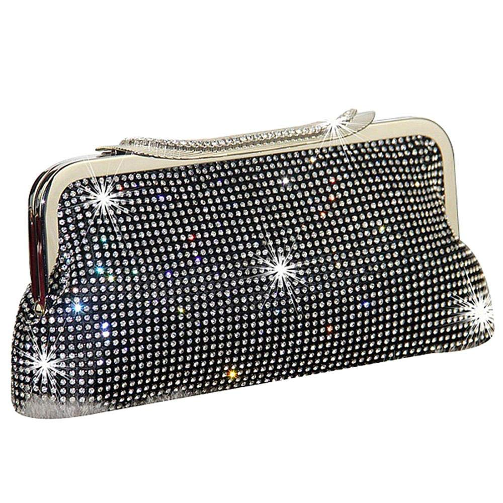 SIMANLI Shining Evening Bag, Elegant Clutch Purse Shoulder Bag for Women, Clutch Wallet Cell Phone Purse for Party Wedding Prom Ball Perfect Gift (Black)