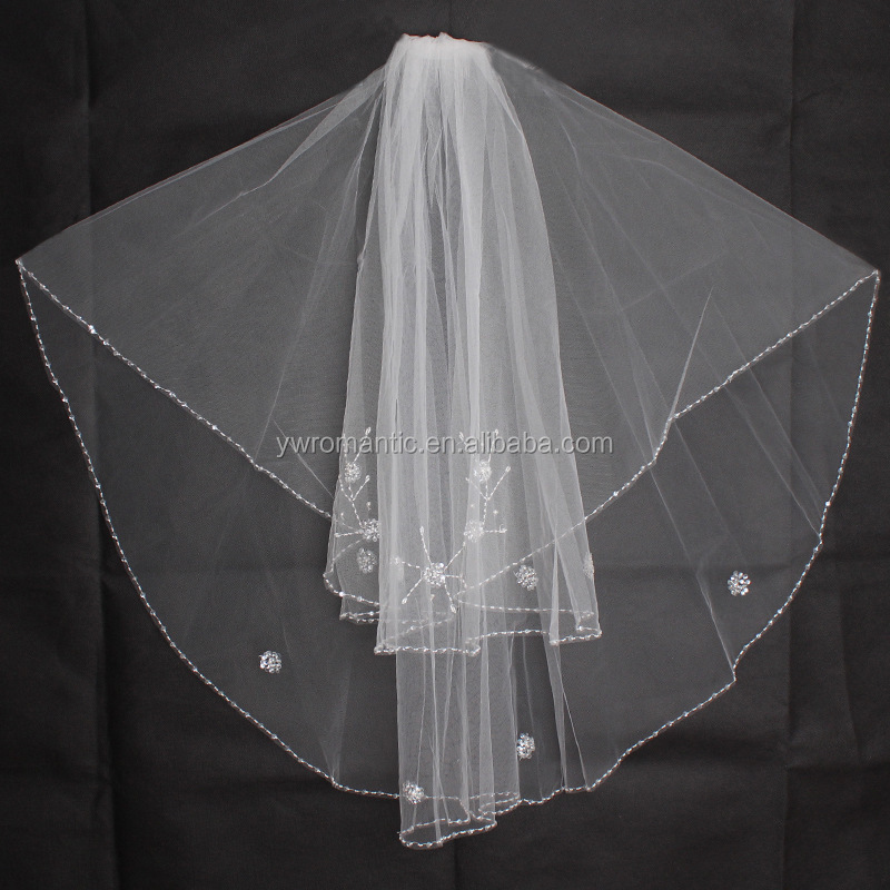 New bride essential veil bride wedding accessories lace trim wedding long veil