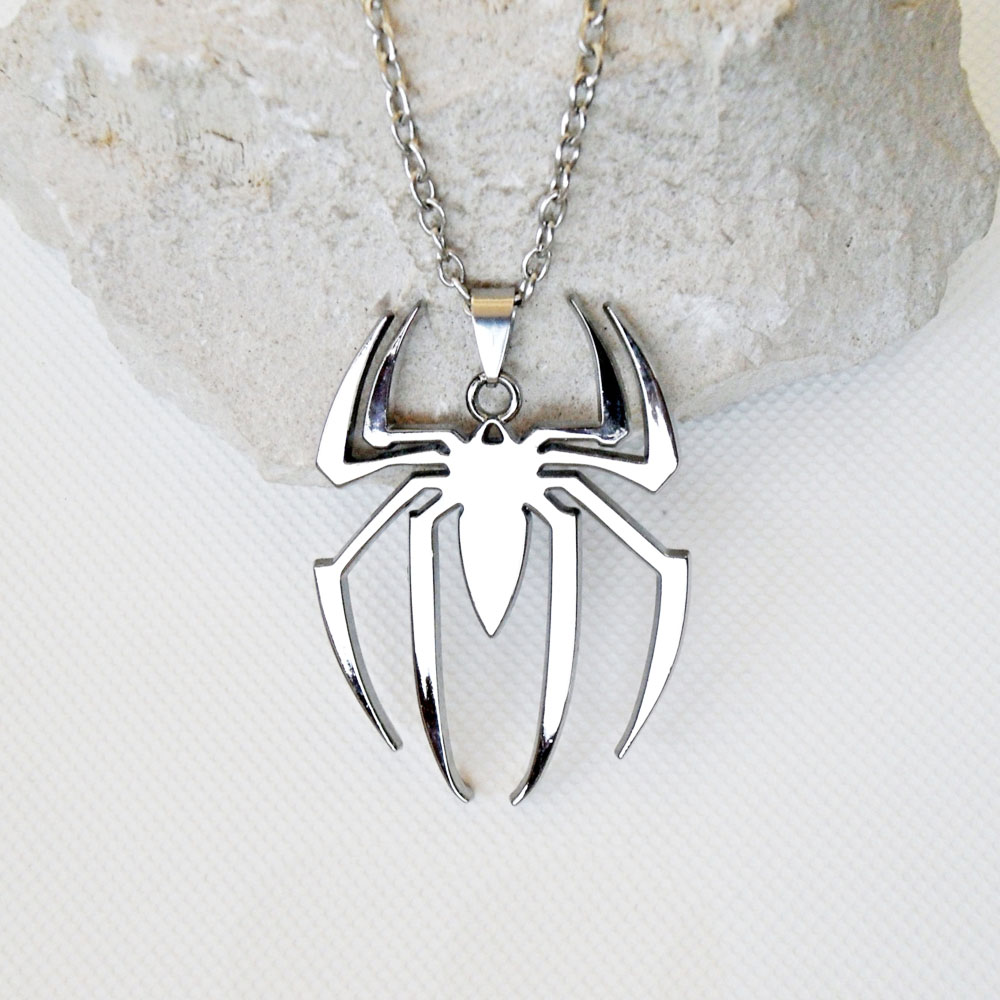 Hotselling unique silver tone laser cut stainless steel spider pendant 30mm