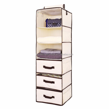 Hanging Closet Organizer With 2 Drawers U0026 1 Underwear Drawer, Foldable Hanging  Closet Shelves