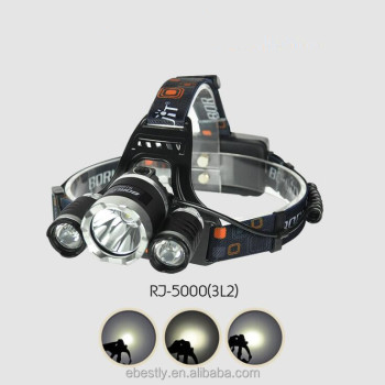 Boruit RJ 5000 LED Headlamp XML T6 6000 Lumens 4 Mode LED Headlight USB  Power