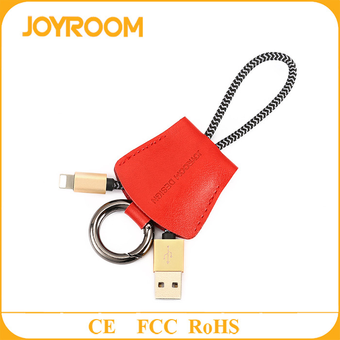 joyroom genuine leather portable usb charging cable 20cm with key ring