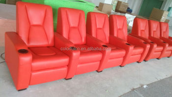 Full Italy Top Genuine Leather Recliner Sofa With Cooling Cup Holder And  LED Light