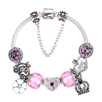 Alibaba.com / China fashion 925 sterling silver charm beads crystal beads handmade jewelry bracelet