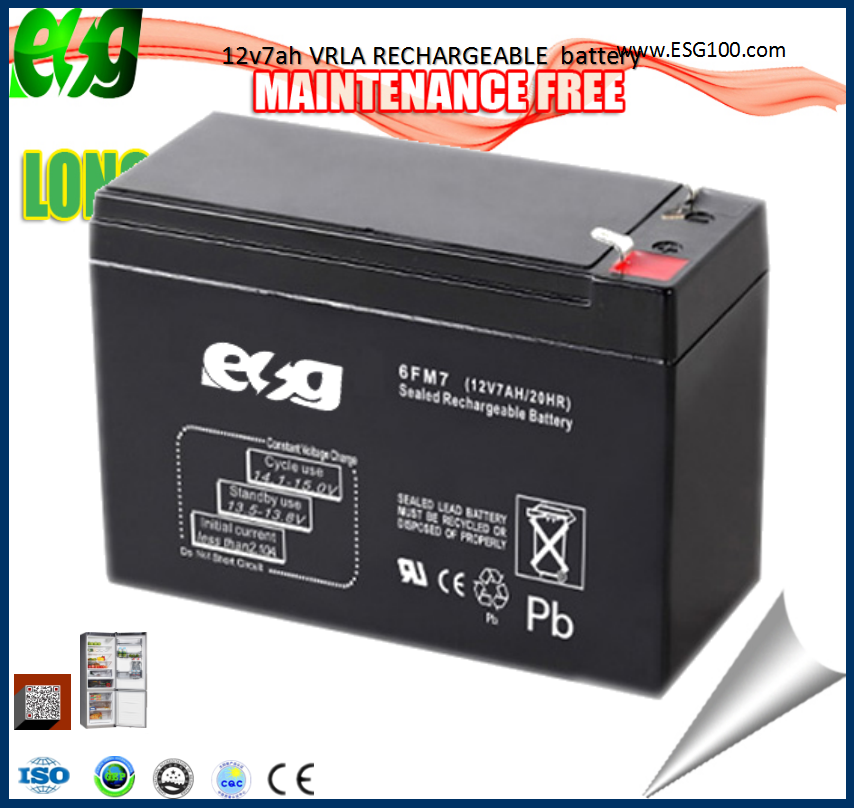 12v 7 ah Valve Regulated Maintenance free Lead acid gfm ups battery