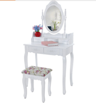 Dressing Table With Mirror Makeup Table French Wooden Dresser 3 Drawers  Antique Vanity Set Wood Make