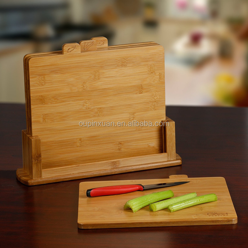 2016 new design 4 boards with tabs for met/ poultry/fish and produce bamboo cutting board set with holder chopping blocks wholes