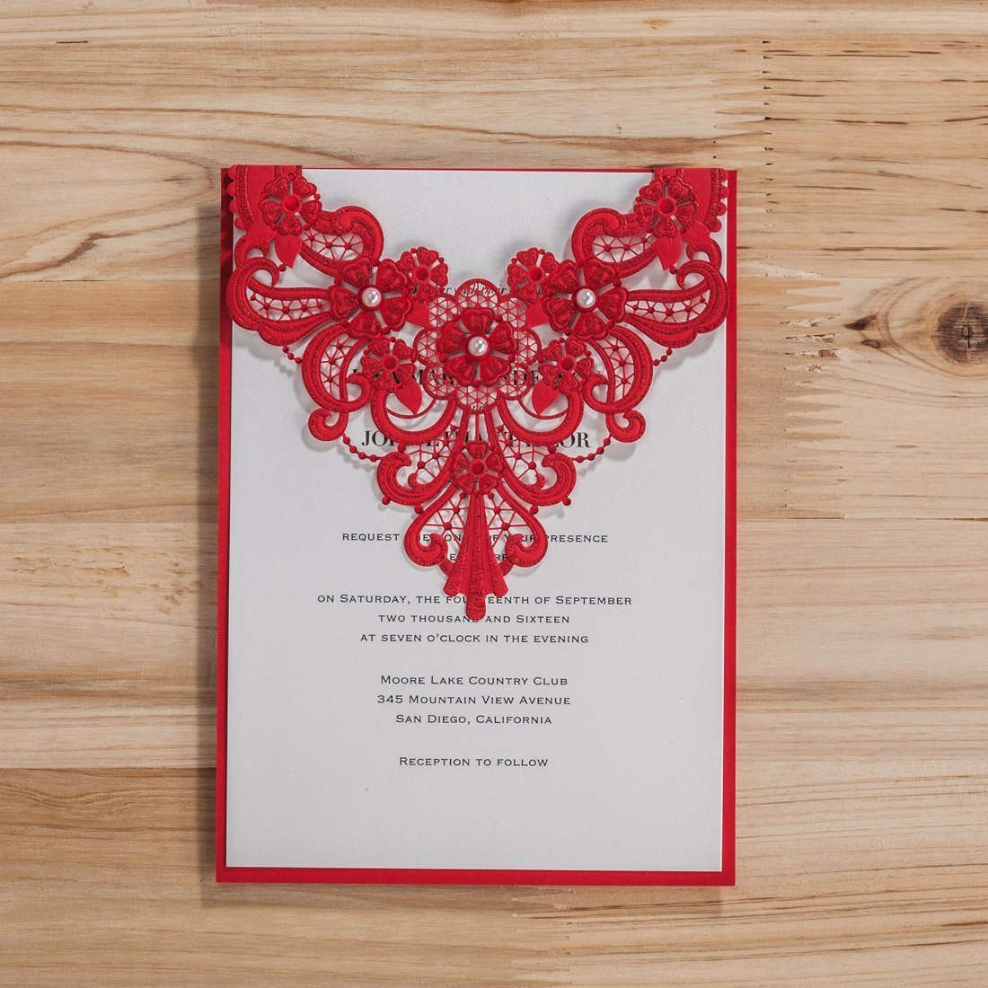 Buy Wishmade 100x Red Laser Cut Wedding Invitation Cards Kits with ...