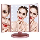 Ease-holding Led Lighted Vanity Mirror Make Up Tri-Fold with 22Pcs Lights 180 Degree Free Rotation Table Countertop Cosmetic