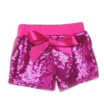 Cheap wholesale summer girl's sequin shorts for children red short with red bow