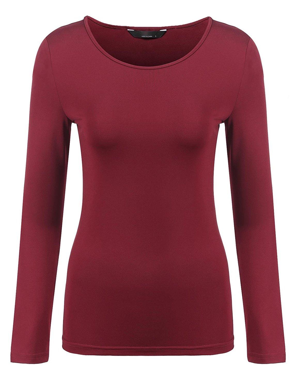 51ca247c0cb7f Get Quotations · Burlady Women s Basic Long Sleeve T-Shirt Plain Spandex  Underscrub Tee