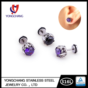 Free shipping stainless steel sterilized body jewelry zircon screw back piercing stud earrings