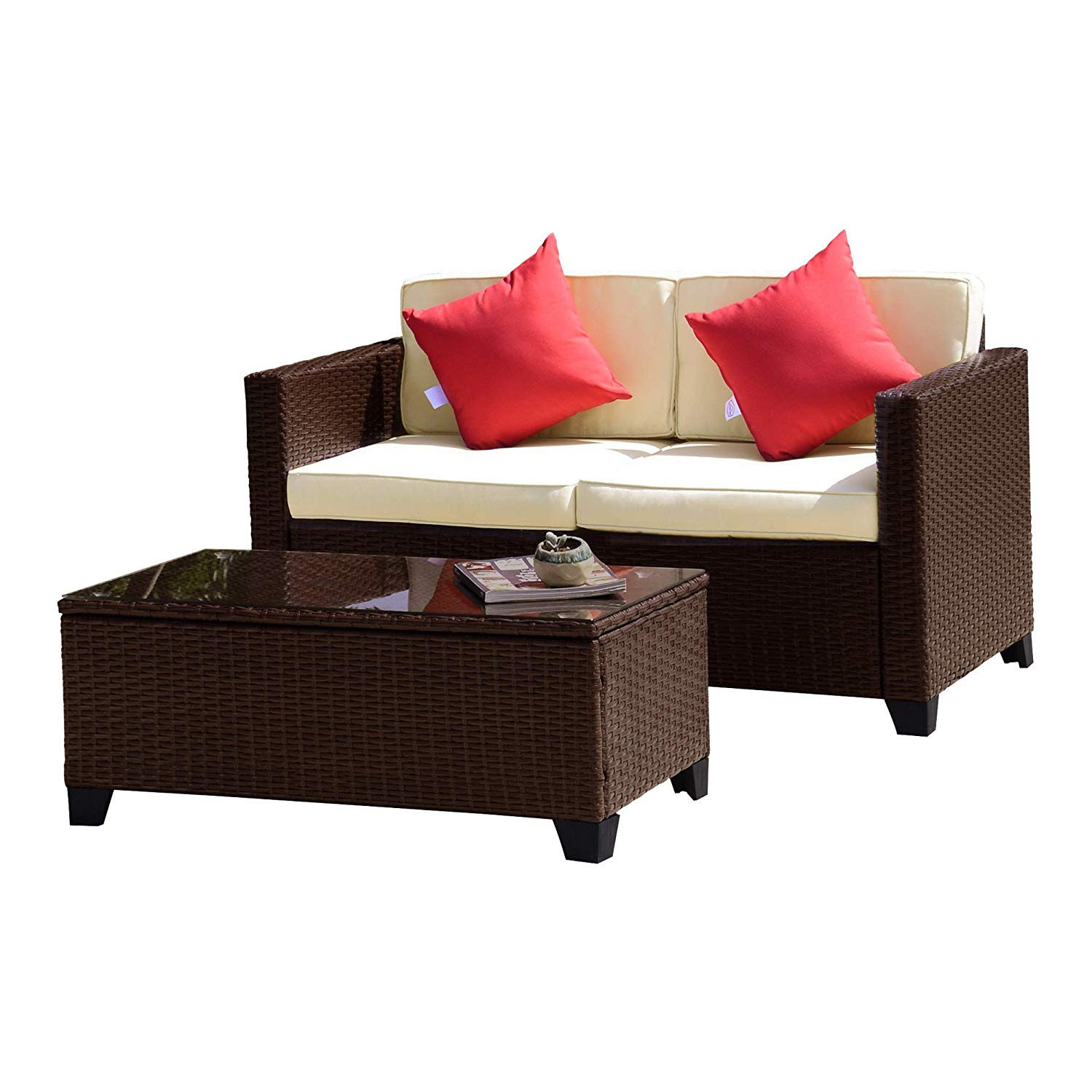 FurniTure Outdoor Wicker Love Seat Set 2 PC Patio Rattan Set Garden Rattan Wicker Sofa Set Table Seat, Cocoa Brown Wicker with Beige Cushions