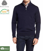 Latest sweater designs for men, 1/4 zip pullover Man sweater wool jumper