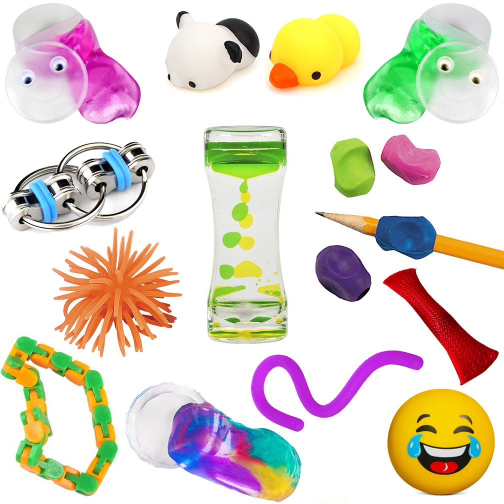 16 Sensory Processing Disorder Tools for Kids | ADHD Fidget Toys, Autism Toys, Learning Resources, Stress Ball, Kawaii Squishies, Flippy Chain Fidget Toy | Sensory Toys by Mr. E=mc² for Boys Girls