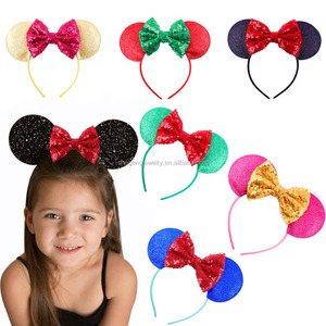 Jumbo Mouse Headbands Bows Sparkle Shimmer Ears Sparkling Birthday Mickey