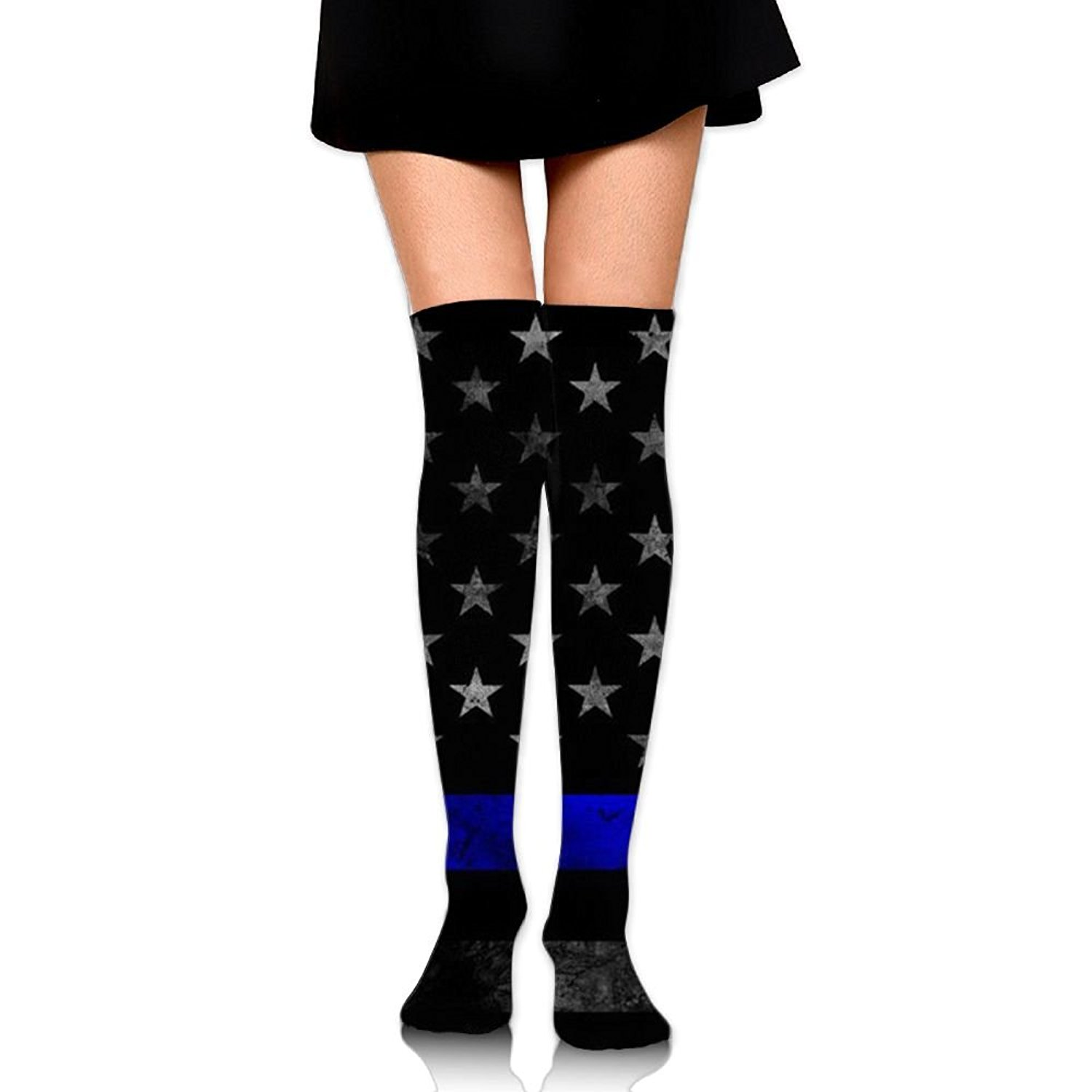 SOURCE POINT Womwn's Long Socks Vintage Thin Blue Lines Printing Stocking Sexy Knee High Socks