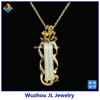 2017 New Design JL Jewelry Spring Natural Hetian Jade Serial Jade 925 Sterling Silver 18K Plated Fashion Pendant