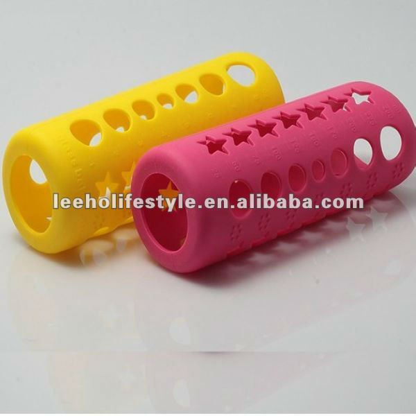 Durable safe color changed silicone insulated baby feeding bottle cover