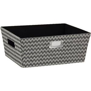 Household Essentials Hard-sided Small Tapered Storage Bin, Black Chevron