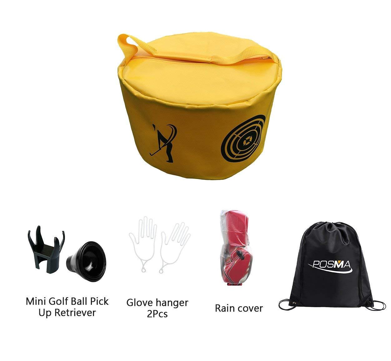 POSMA HB010I Golf Hitting Bag Swing Impact Power Smash Bag Training Set with 1pc Rain cover + 2pcs Glove hanger + 2pcs mini Golf Ball Pick Up Retriever + Cinch Sack Carry Bag